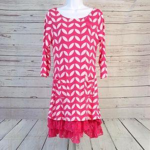 4/$25 Reborn retro pink white lace pocket dress